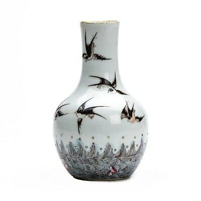 Antique Chinese Qing Swallows Porcelain Vase 19Th C