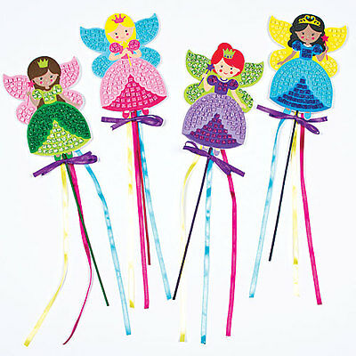 Fairy Princess Mosaic Wands for Children to Make and Display (Pack of 4)
