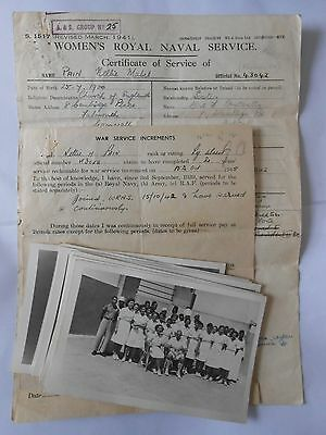 womens royal naval service ,  service sheet & photos   NELLIE MABEL PAIN