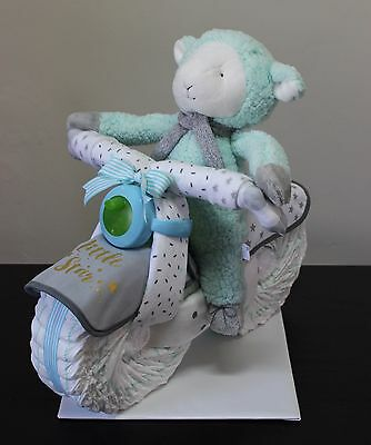Motorcycle Nappy Cake - Mint/Grey - Baby Shower & Newborn Baby Gifts