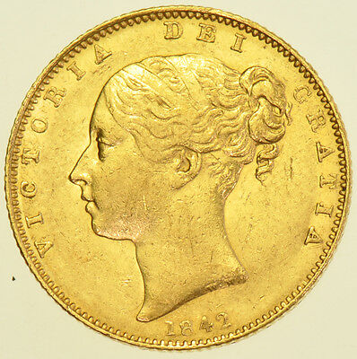 Rare 1842 Sovereign, Open 2, British Gold Coin From Victoria Gvf