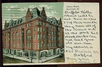 1909 D.R. Mead & Co. House Furnishers Ad on Nelson Hotel Postcard - Rockford,IL