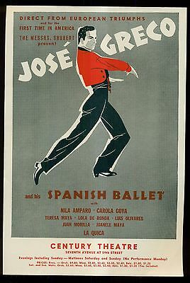 1950's Jose' Greco and his Spanish Ballet/Century Theatre Mini Poster Order Form