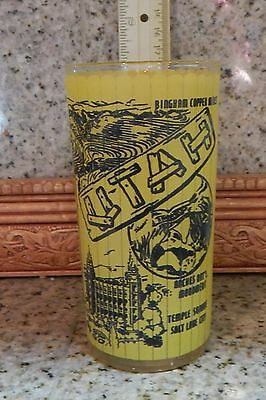 Vintage Utah State Collector Glass Yellow Salt Lake City Dinosaur Monticello