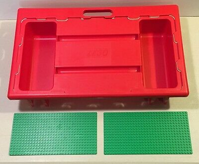 Lego Portable Travel Lap Tray Table 1998 Carry Case Red Green Baseplate 30341