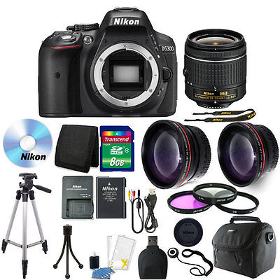 Nikon D5300 Digital SLR Camera with 18-55mm + 8GB + Top Accessory Bundle