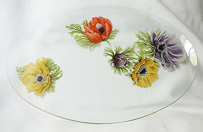 Vintage Chance Glass Anemone Oval Platter 14.25 Inches Long
