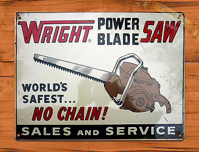 "TIN SIGN ""Wright Power Blade Saw"" Rustic Garage Tool Wall Decor"