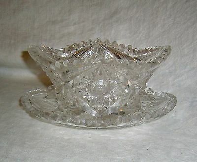 Antique American Brilliant Period Abp Hobstar Cut Glass Finger Bowl & Underplate
