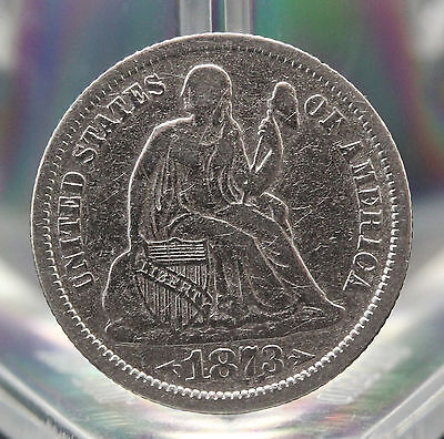 1873 Seated Liberty  Dime Fine Condition.