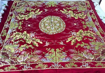 Antique Chinese Silk Hand Embroidered Embroidery Bedspread or Tablecloth. Unique