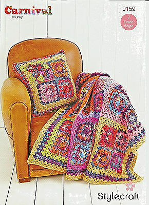 Stylecraft Carnival Chunky Knitting,granny Squares,cushion Throw Crochet Pattern
