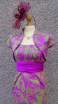 Mother of Bride Dress, Jacket & Fascinator by Carina, Size 10