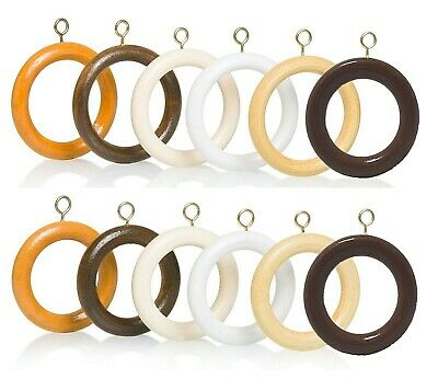 Wooden Curtain Rings Wood - 5 Colours  - 2 Sizes Bulk Order Multi-Buy Discount