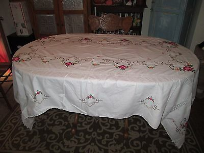 Beautiful Vintage large Crossstitch Tablecloth