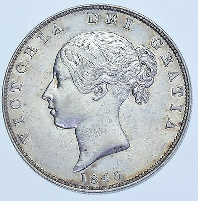 Scarce 1840 Halfcrown, British Silver Coin From Victoria Ef