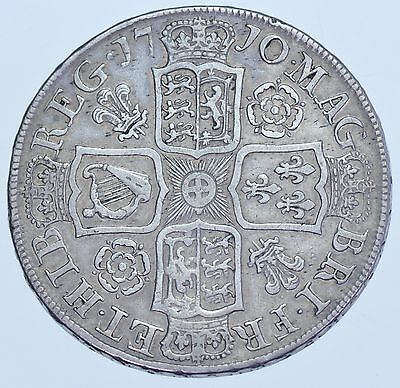 Very Rare 1710 Halfcrown, Roses & Plumes, British Silver Coin From Anne Vf