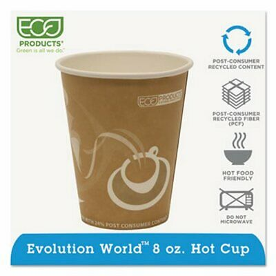 Evolution World Recycled 8-oz. Hot Cups, 1,000 Cups (ECP EP-BRHC8-EW)