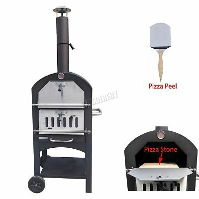 FoxHunter Patio Steel Pizza Oven With Stone Wood Fired BBQ Grill POS01 Black