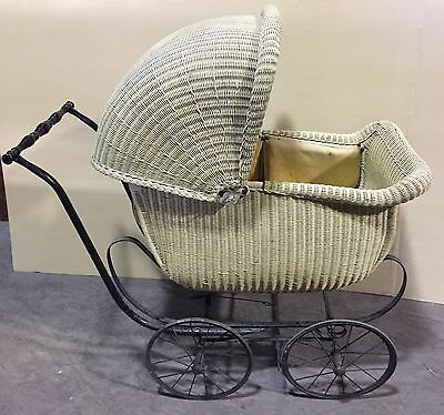 "Antique Vintage Baby Carriage Wicker ""car610"""