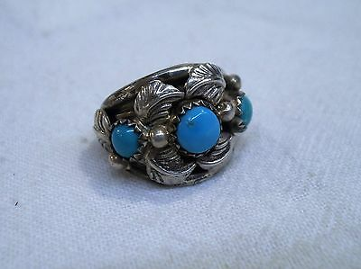 Vintage Southwestern Shube's Sterling Silver Turquoise Ring-Feathers-Sz 6.5-wide