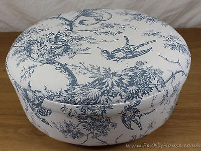 Oval Grey/blue French toile fabric footstool bird detail & wooden feet pouffe