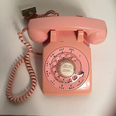 Vintage 70's Rotary Telephone Pink Two Tone Phone ITT Brand Hard Wired Handset