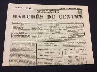 VENTE PRINTEMPS 2#LOT77: FRANCE timbre n°25 seul sur journal préoblitéré 1871 RR