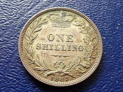 Queen Victoria Sterling Silver Shilling 1887 Young Head Aef Great Britain Uk