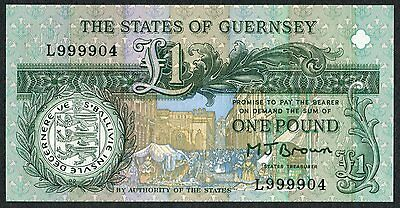 £1 * States of Guernsey * Brown * L Prefix - Last * VERY HIGH NUMBER * UNC