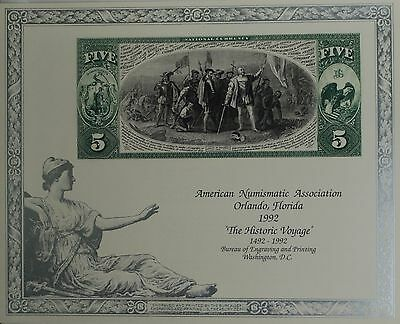 1992 BEP Souvenir Card Reverse of Columbus 5 Five Dollar National Currency Note