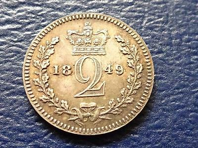 Queen Victoria Silver Maundy Twopence 1849 2D Great Britain Uk