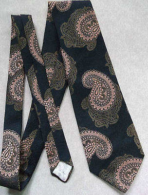 LOUIS PHILIPPE VINTAGE WIDE TIE RETRO 1970s MOD DANDY SHIMMERY NAVY GOLD PAISLEY