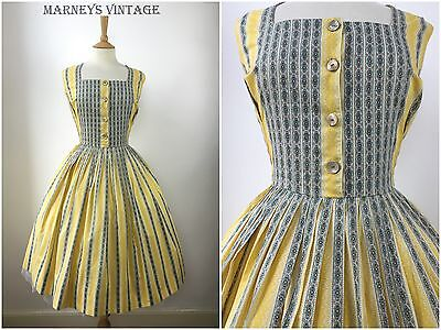 Vintage 1950s Shirtwaist Swing Dress Geometric Striped Cotton 50s Party Dress 14
