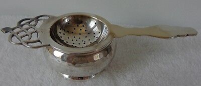 Vintage Silver Plate Tea Strainer With Drip Bowl Cup Hammered Design