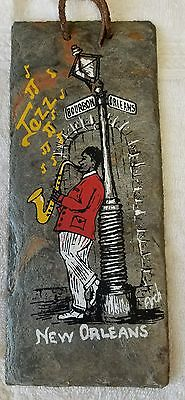Vtg Roofing Slate Tile From Vieux Carre New Orleans Gray Saxophone Jazz 1800's