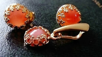 Angel Skin Coral - Gold on Sterling Silver - Earrings and Pendant