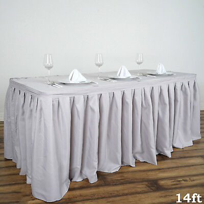 14' Silver POLYESTER PLEATED TABLE SKIRT Tradeshow Wedding Catering Supplies