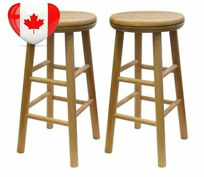 Winsome Wood 24 Inch Swivel Seat Barstool with Natural Finish, Set of 2