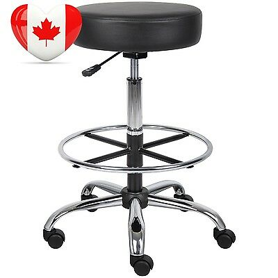 Nicer Furniture ® Caressoft Medical Drafting Stool Black with Footring,...