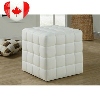 Monarch Specialties Leather Look Ottoman, White