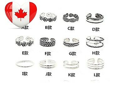 SaiDeng 12PCs set Women Lady Unique Opening Finger Ring Retro Carved Toe...