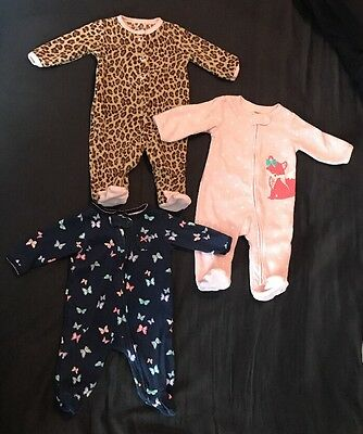 Lot of 3 Carter's Baby Girls 3 Month Footed Sleepers Pajamas