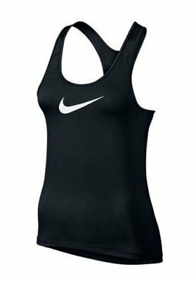 Nike Damen Dri Fit Sport Fitness Freizeit PRO COOL TANK TOP Shirt Swoosh Schwarz