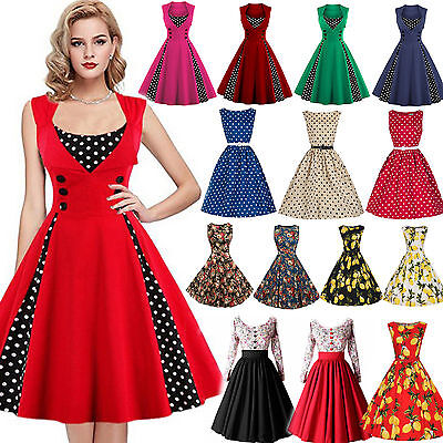 Women Retro 50s 60s Rockabilly Dress Housewife Evening Party Vintage Swing Dress
