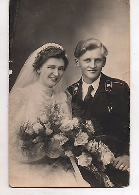 ORIGINAL PERIOD GERMAN WW2 PHOTO-PORTRAIT panzer troop wedding