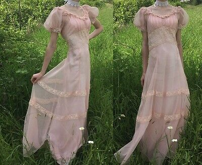 Antique 1930's Edwardian Sheer Pink Tulle Dress Lace Spring Party Evening Gown