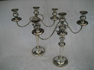 IMPRESSIVE PAIR OF ANTIQUE SILVER PLATED CANDELABRA (42.5cm tall)