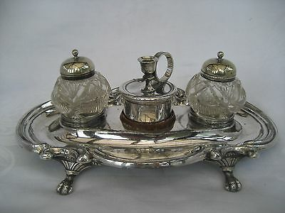 VICTORIAN SILVER PLATED DESK STAND - Barker Bros.