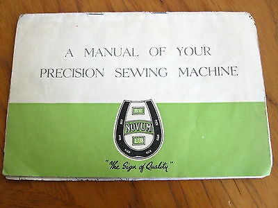 Vintage 1960's Novum Sewing Machine Manual
